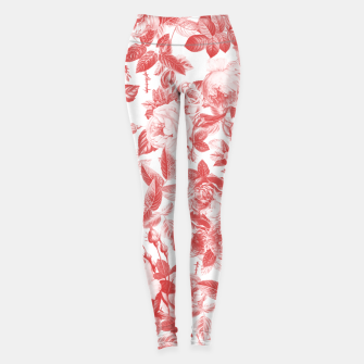 Thumbnail image of Elegant Romantic Toile Red Roses Floral on White Leggings, Live Heroes