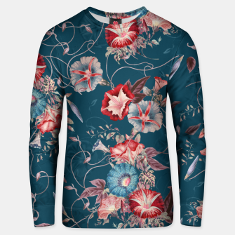 Miniaturka Romantic Floral Japanese Morning Glories on Blue Unisex sweater, Live Heroes