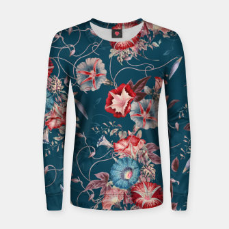 Miniaturka Romantic Floral Japanese Morning Glories on Blue Women sweater, Live Heroes