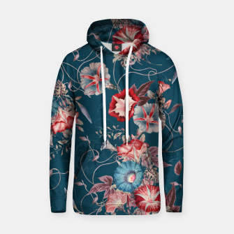 Miniaturka Romantic Floral Japanese Morning Glories on Blue Hoodie, Live Heroes