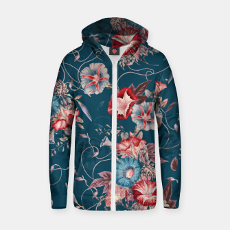 Miniaturka Romantic Floral Japanese Morning Glories on Blue Zip up hoodie, Live Heroes
