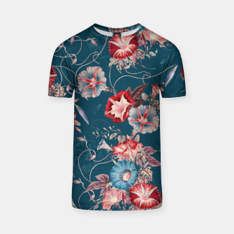 Miniaturka Romantic Floral Japanese Morning Glories on Blue T-shirt, Live Heroes