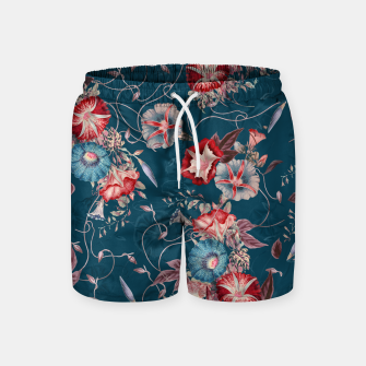 Thumbnail image of Romantic Floral Japanese Morning Glories on Blue Swim Shorts, Live Heroes