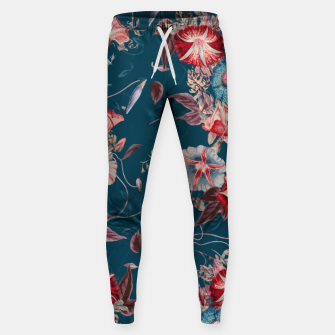Thumbnail image of Romantic Floral Japanese Morning Glories on Blue Sweatpants, Live Heroes