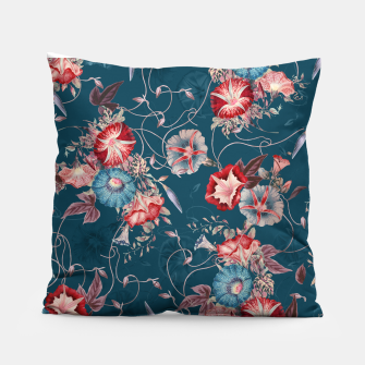 Thumbnail image of Romantic Floral Japanese Morning Glories on Blue Pillow, Live Heroes