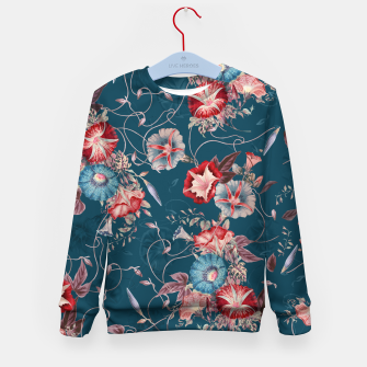 Thumbnail image of Romantic Floral Japanese Morning Glories on Blue Kid's sweater, Live Heroes