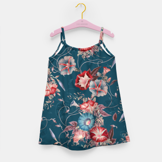 Thumbnail image of Romantic Floral Japanese Morning Glories on Blue Girl's dress, Live Heroes