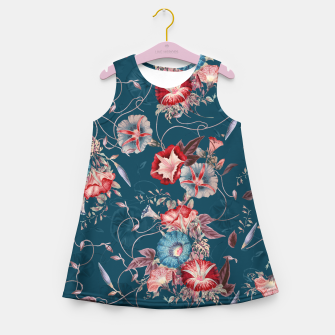 Thumbnail image of Romantic Floral Japanese Morning Glories on Blue Girl's summer dress, Live Heroes