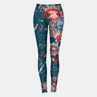 Thumbnail image of Romantic Floral Japanese Morning Glories on Blue Leggings, Live Heroes