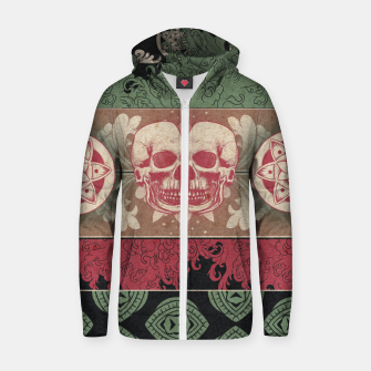 Thumbnail image of Patterns and Skuls Zip up hoodie, Live Heroes