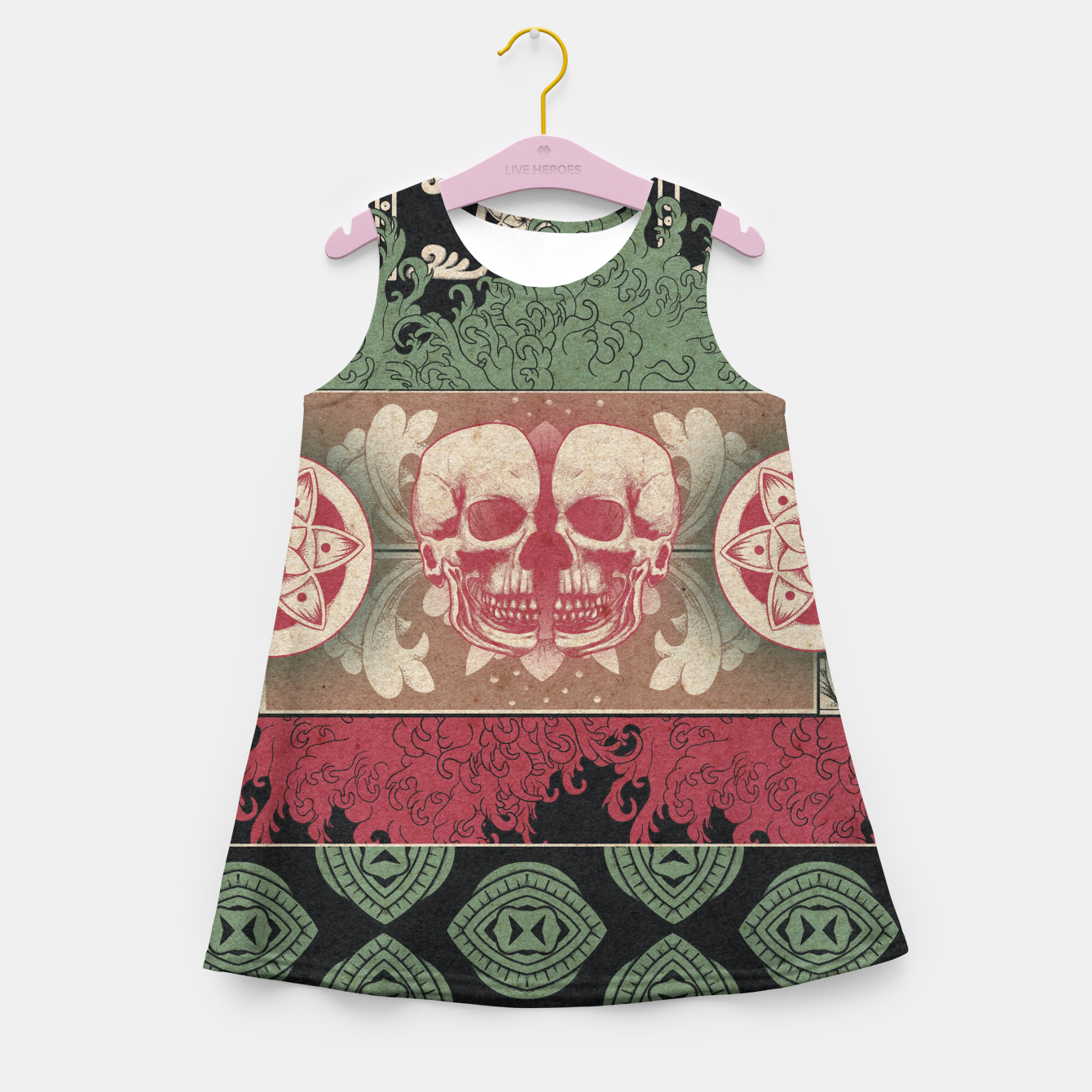 Zdjęcie Patterns and Skuls Girl's summer dress - Live Heroes