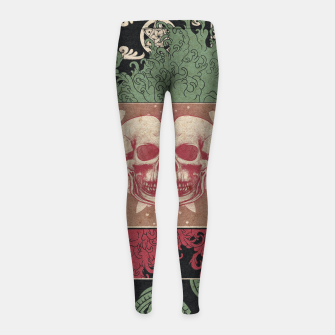 Thumbnail image of Patterns and Skuls Girl's leggings, Live Heroes