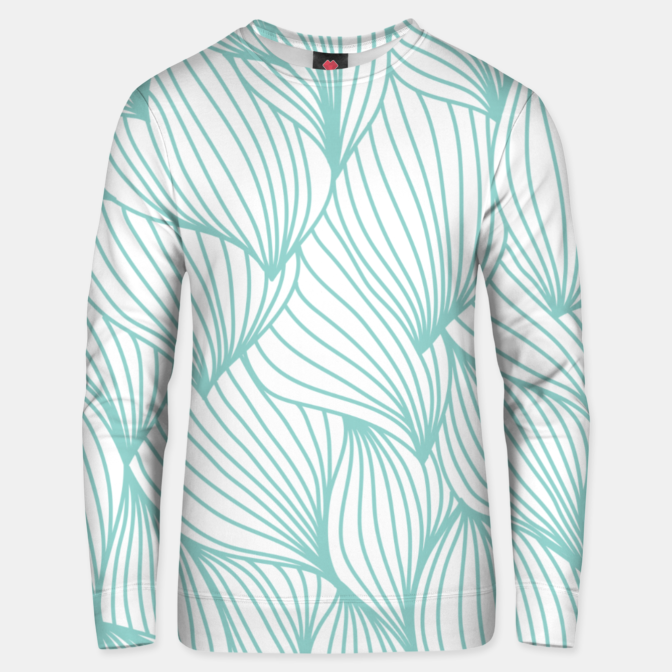 Foto Minimal Turquoise White Waves Delicate Natural Artist Unisex sweater - Live Heroes