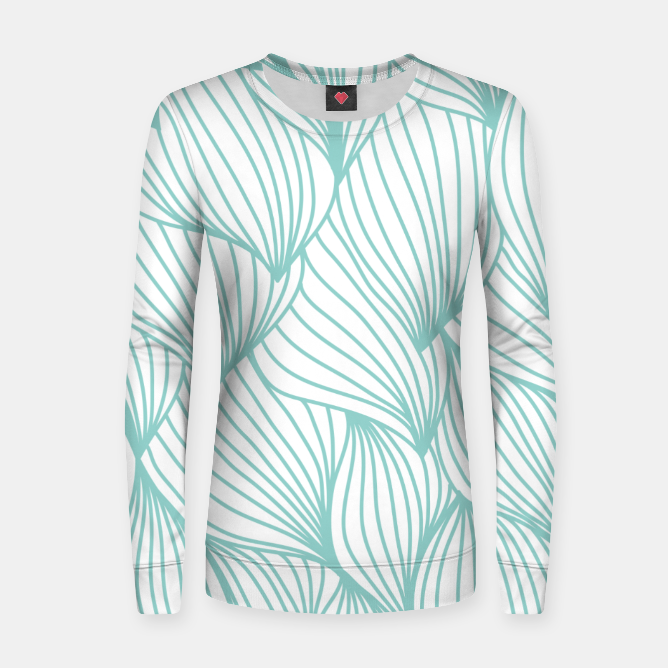 Foto Minimal Turquoise White Waves Delicate Natural Artist Women sweater - Live Heroes