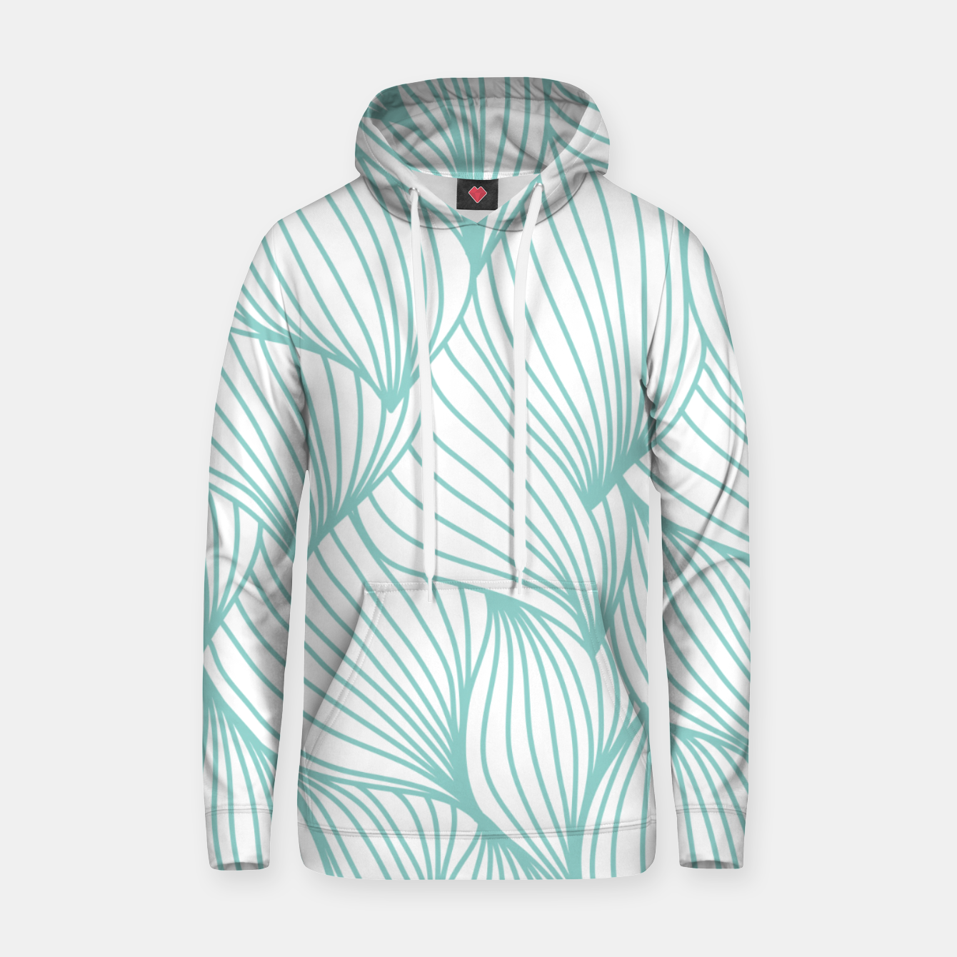 Foto Minimal Turquoise White Waves Delicate Natural Artist Hoodie - Live Heroes