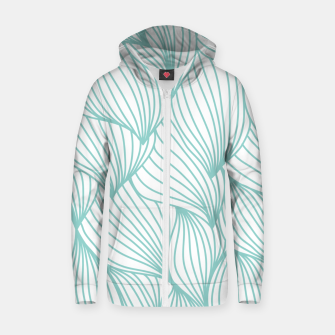 Miniature de image de Minimal Turquoise White Waves Delicate Natural Artist Zip up hoodie, Live Heroes