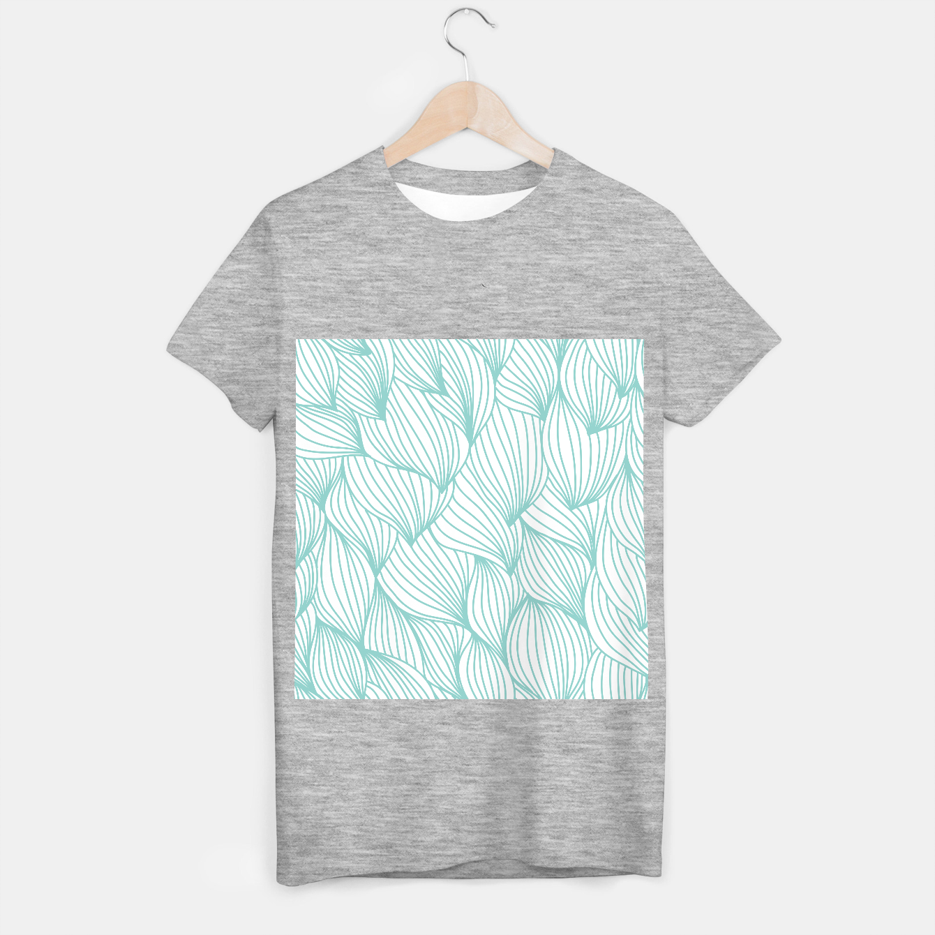 Foto Minimal Turquoise White Waves Delicate Natural Artist T-shirt regular - Live Heroes