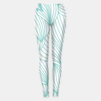 Thumbnail image of Minimal Turquoise White Waves Delicate Natural Artist Leggings, Live Heroes