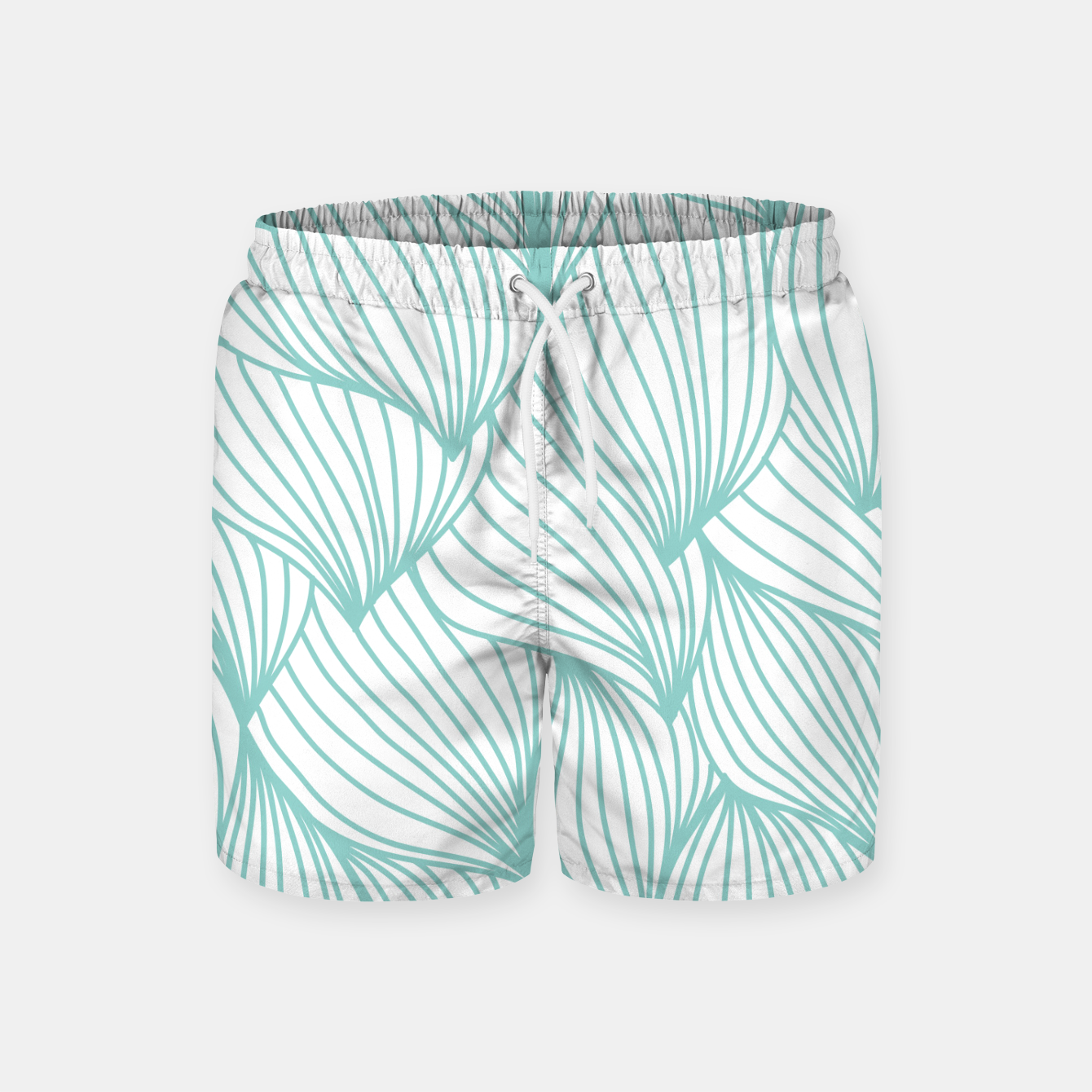 Foto Minimal Turquoise White Waves Delicate Natural Artist Swim Shorts - Live Heroes