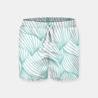 Thumbnail image of Minimal Turquoise White Waves Delicate Natural Artist Swim Shorts, Live Heroes