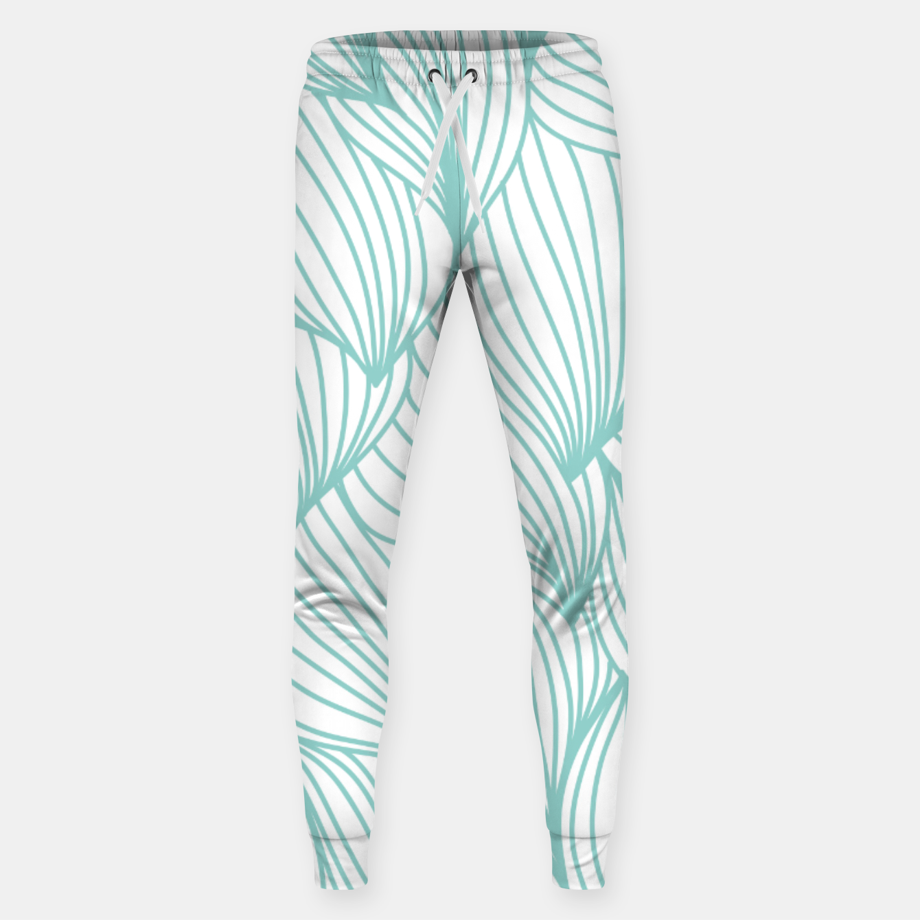 Foto Minimal Turquoise White Waves Delicate Natural Artist Sweatpants - Live Heroes