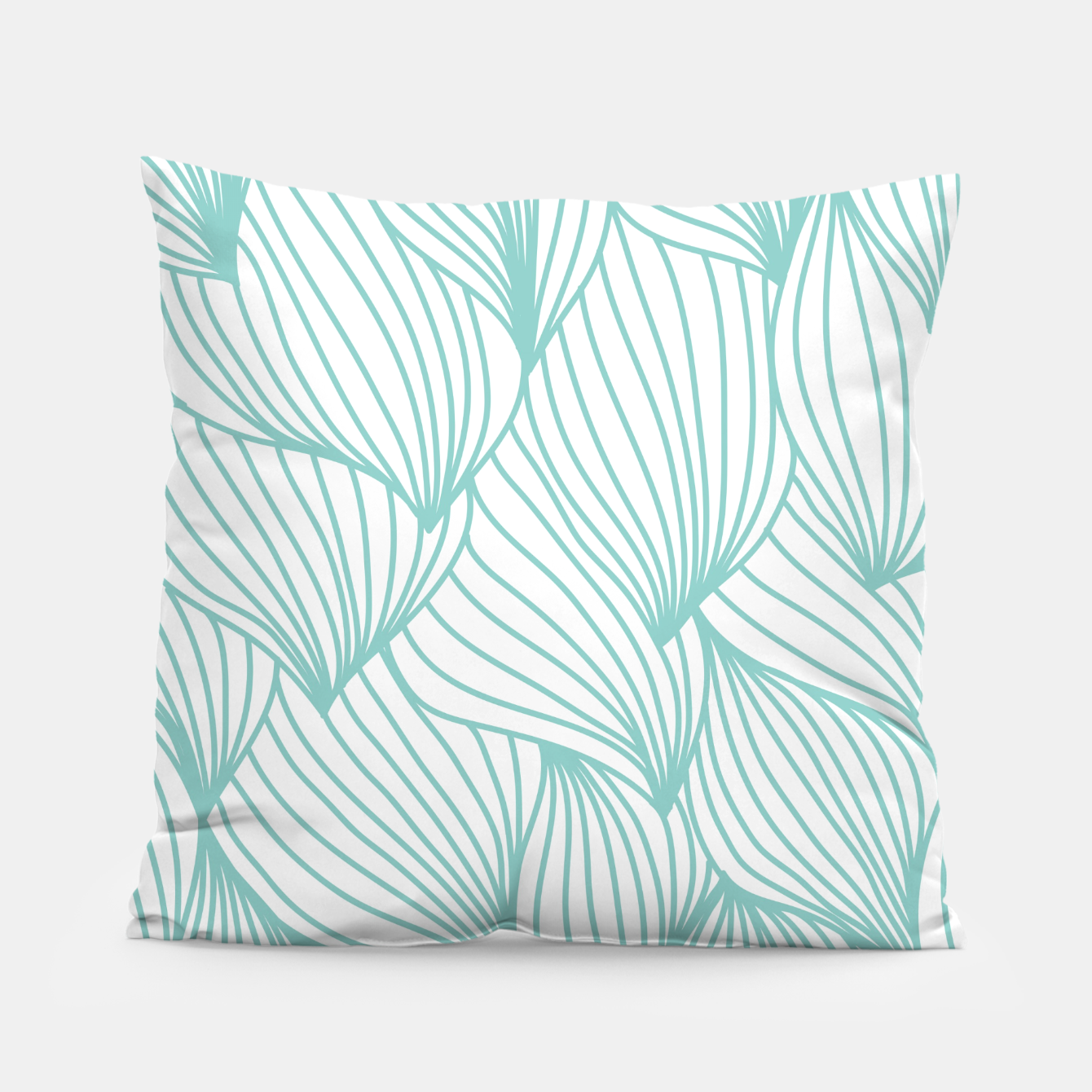 Foto Minimal Turquoise White Waves Delicate Natural Artist Pillow - Live Heroes