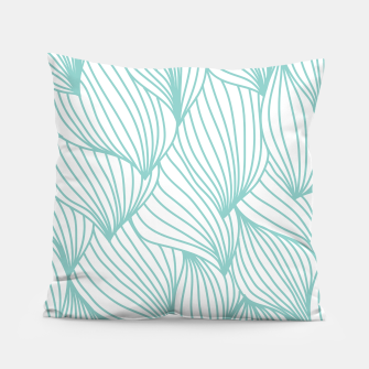 Thumbnail image of Minimal Turquoise White Waves Delicate Natural Artist Pillow, Live Heroes