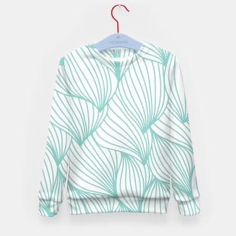 Miniature de image de Minimal Turquoise White Waves Delicate Natural Artist Kid's sweater, Live Heroes
