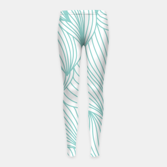 Miniature de image de Minimal Turquoise White Waves Delicate Natural Artist Girl's leggings, Live Heroes