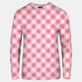 Thumbnail image of Girly Pink Checkered Fashionable Squares Classy Trendy Unisex sweater, Live Heroes