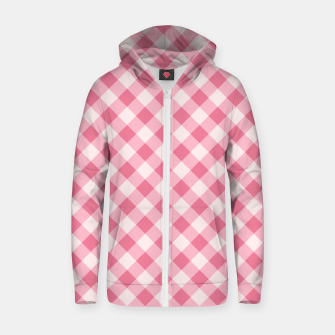 Thumbnail image of Girly Pink Checkered Fashionable Squares Classy Trendy Zip up hoodie, Live Heroes
