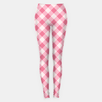 Thumbnail image of Girly Pink Checkered Fashionable Squares Classy Trendy Leggings, Live Heroes
