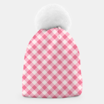 Thumbnail image of Girly Pink Checkered Fashionable Squares Classy Trendy Beanie, Live Heroes