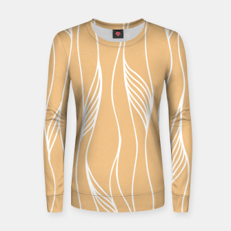 Thumbnail image of Vertical Line Movement White Leaves Feathers Orange Art Women sweater, Live Heroes