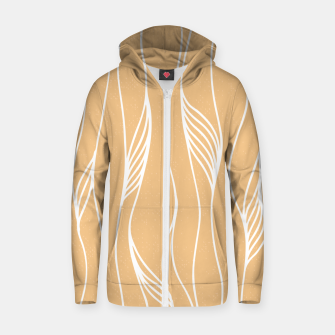 Thumbnail image of Vertical Line Movement White Leaves Feathers Orange Art Zip up hoodie, Live Heroes