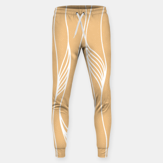 Thumbnail image of Vertical Line Movement White Leaves Feathers Orange Art Sweatpants, Live Heroes
