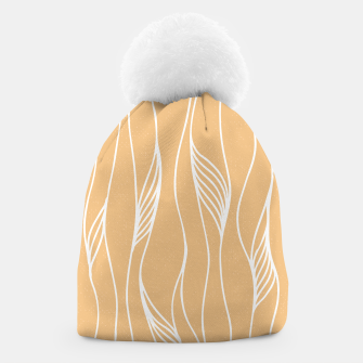Thumbnail image of Vertical Line Movement White Leaves Feathers Orange Art Beanie, Live Heroes