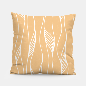 Thumbnail image of Vertical Line Movement White Leaves Feathers Orange Art Pillow, Live Heroes