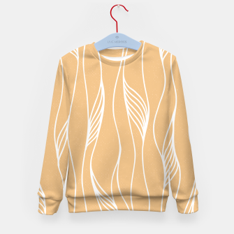 Thumbnail image of Vertical Line Movement White Leaves Feathers Orange Art Kid's sweater, Live Heroes
