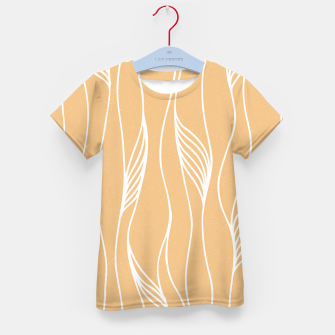 Thumbnail image of Vertical Line Movement White Leaves Feathers Orange Art Kid's t-shirt, Live Heroes