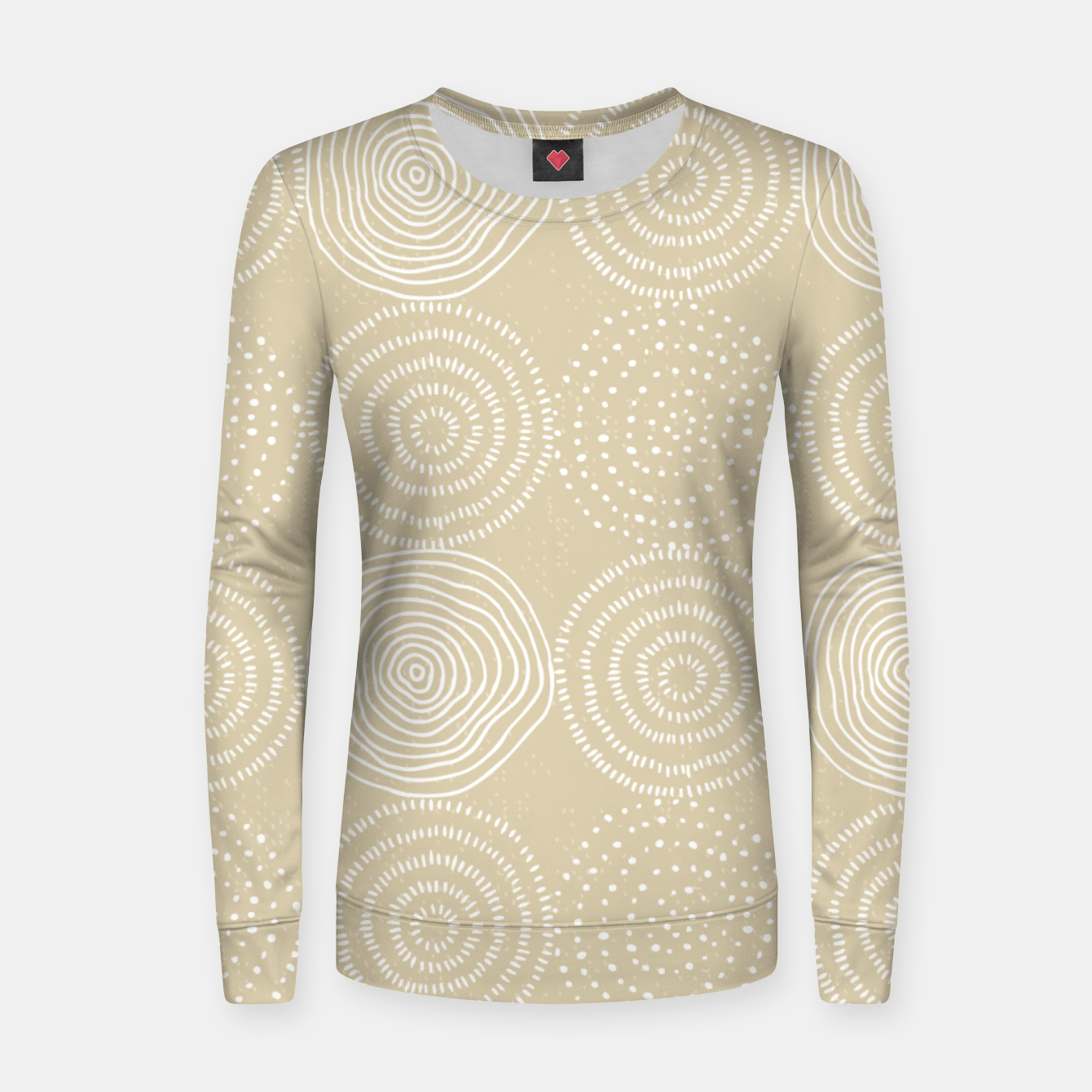 Image of White Circles Dots Line Art Spirals Artistic Tribal Women sweater - Live Heroes
