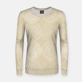 Miniatur White Circles Dots Line Art Spirals Artistic Tribal Women sweater, Live Heroes