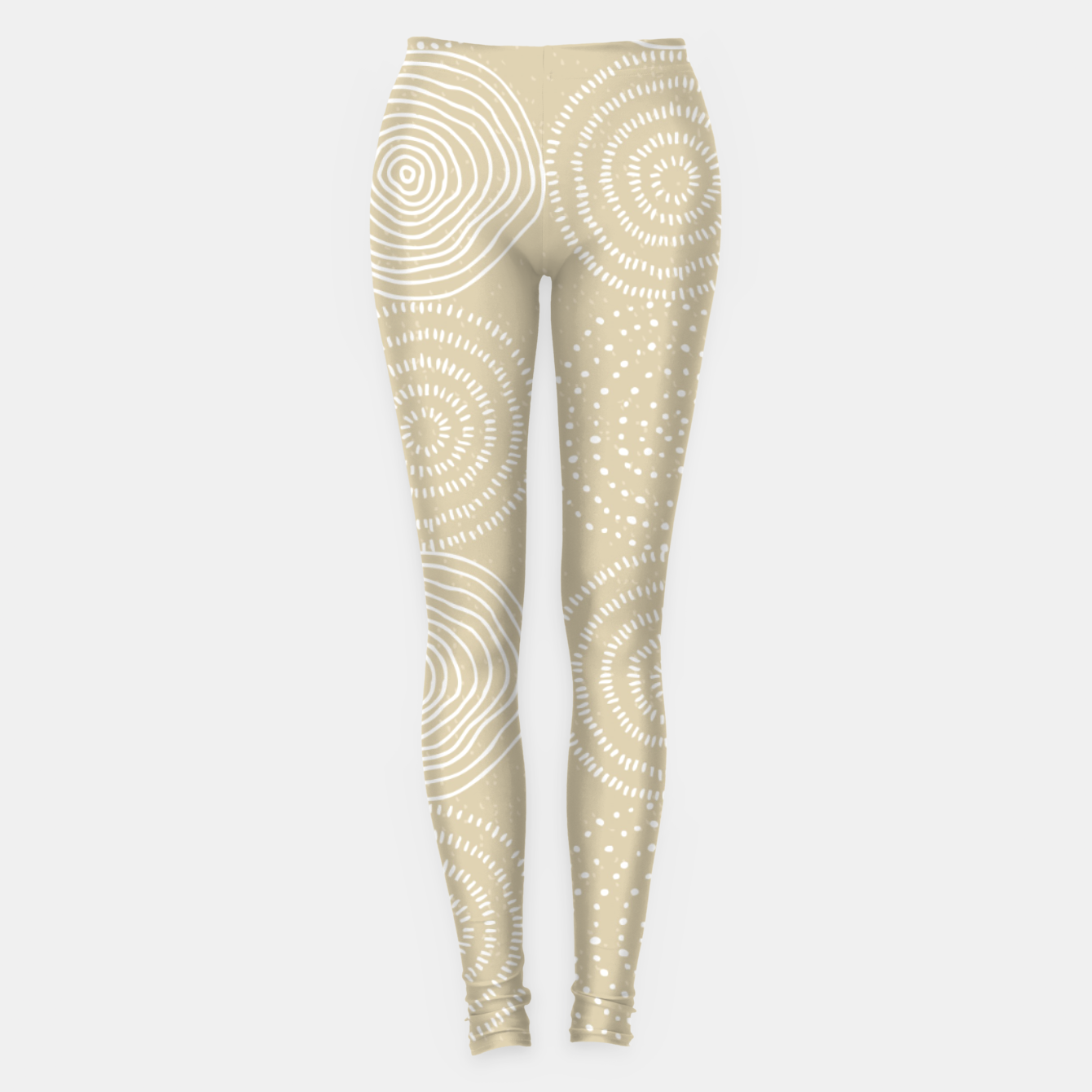 Image of White Circles Dots Line Art Spirals Artistic Tribal Leggings - Live Heroes