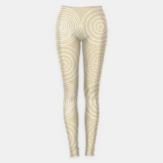 Thumbnail image of White Circles Dots Line Art Spirals Artistic Tribal Leggings, Live Heroes