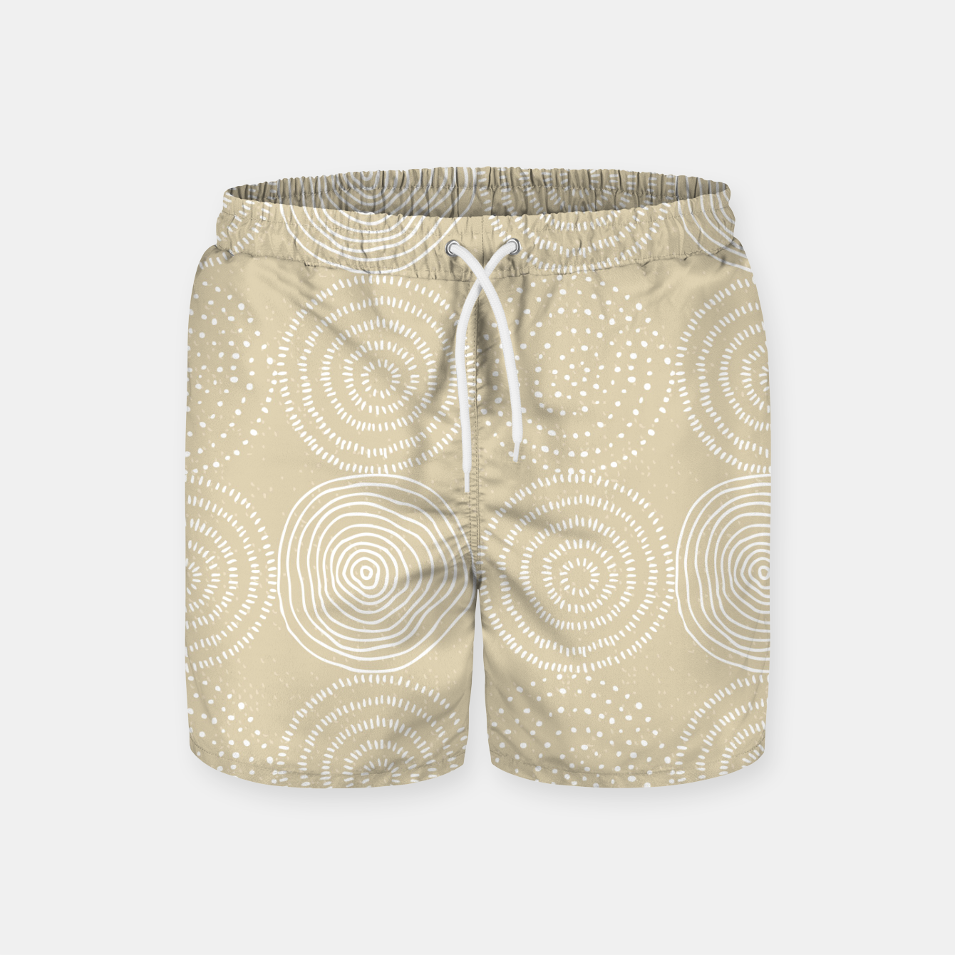 Image of White Circles Dots Line Art Spirals Artistic Tribal Swim Shorts - Live Heroes