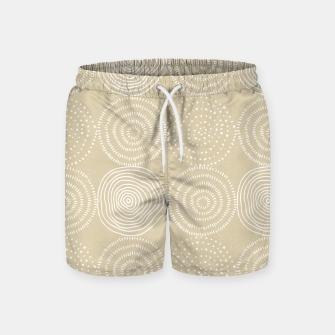 Thumbnail image of White Circles Dots Line Art Spirals Artistic Tribal Swim Shorts, Live Heroes
