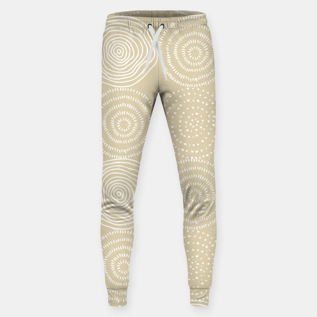 Image of White Circles Dots Line Art Spirals Artistic Tribal Sweatpants - Live Heroes