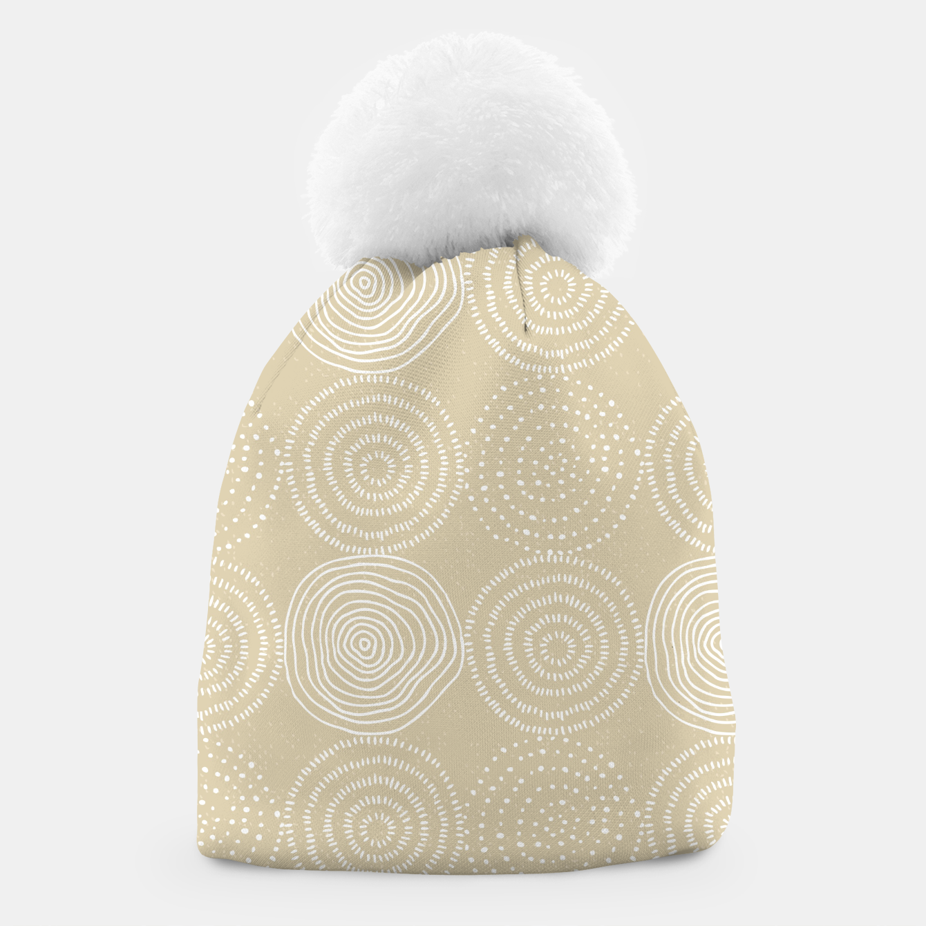 Image of White Circles Dots Line Art Spirals Artistic Tribal Beanie - Live Heroes