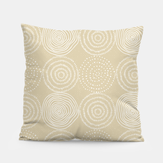 Thumbnail image of White Circles Dots Line Art Spirals Artistic Tribal Pillow, Live Heroes