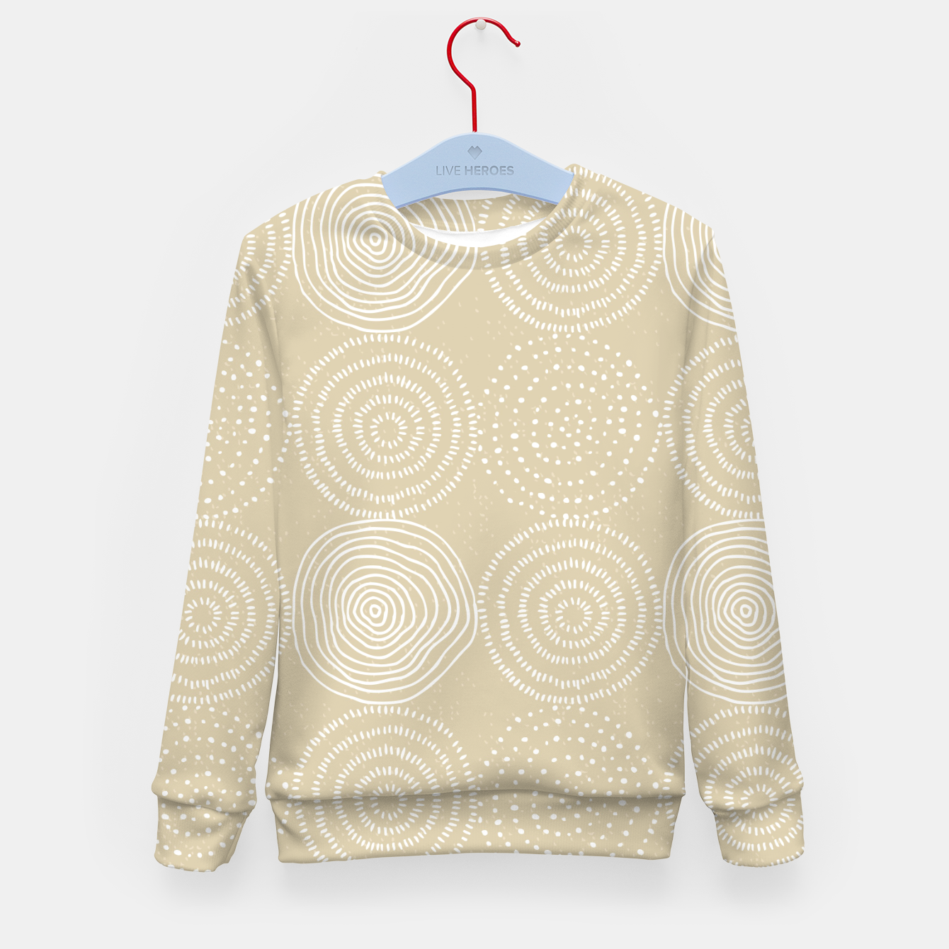 Image of White Circles Dots Line Art Spirals Artistic Tribal Kid's sweater - Live Heroes